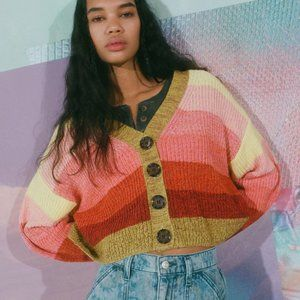 NWT UO | Turner Ribbed Cropped Cardigan Striped